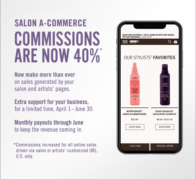 Salon A-commerce commissions are now 40%